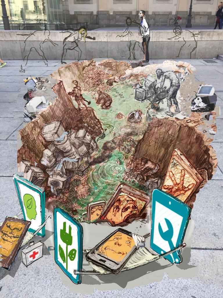 Tecnologia usa e getta, un'installazione artistica per sensibilizzare